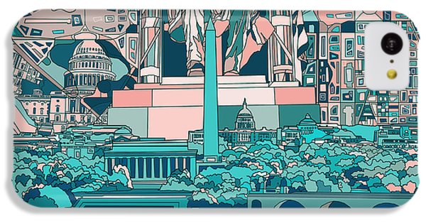 Lincoln Memorial iPhone 5c Case - Washington Dc Skyline Abstract 5 by Bekim Art
