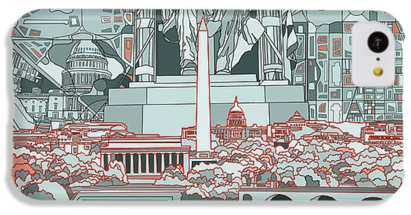 Lincoln Memorial iPhone 5c Case - Washington Dc Skyline Abstract by Bekim Art