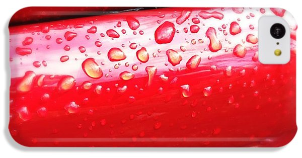 Detail iPhone 5c Case - Water Drops On Red Car Paint by Matthias Hauser