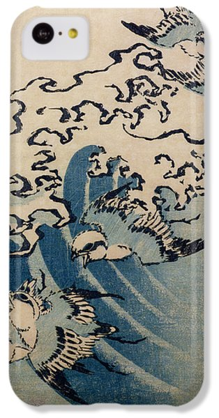Finch iPhone 5c Case - Waves And Birds by Katsushika Hokusai