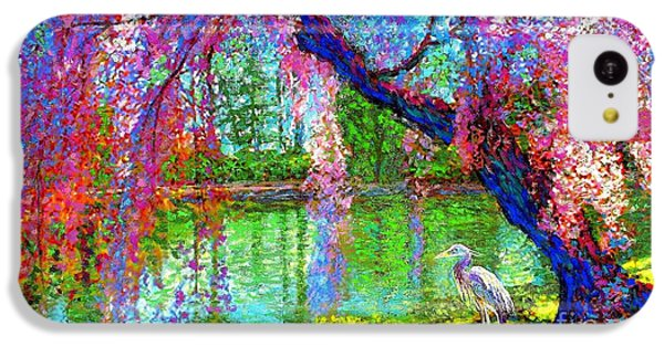 Wildlife iPhone 5c Case - Weeping Beauty, Cherry Blossom Tree And Heron by Jane Small