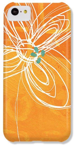 White Flower On Orange IPhone 5c Case