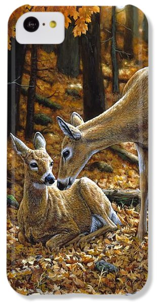 Deer iPhone 5c Case - Whitetail Deer - Autumn Innocence 2 by Crista Forest
