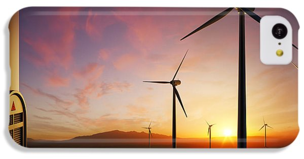 Rural Scenes iPhone 5c Case - Wind Turbines At Sunset by Johan Swanepoel