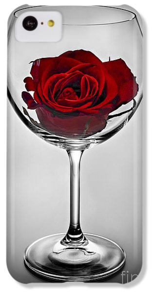 Valentines Day iPhone 5c Case - Wine Glass With Rose by Elena Elisseeva