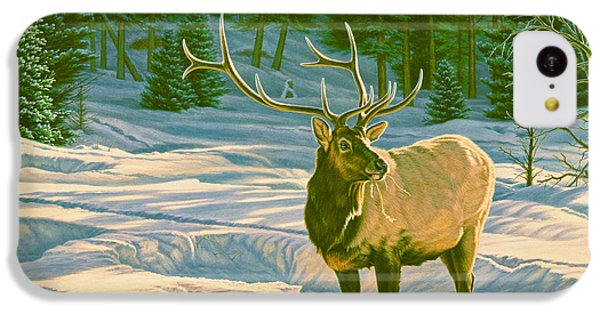 Bull iPhone 5c Case - Winter Forage - Elk by Paul Krapf