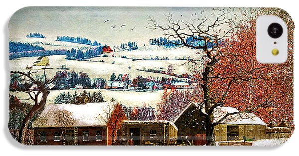 Folk Art iPhone 5c Case - Winter In The Country Folk Art by Lianne Schneider