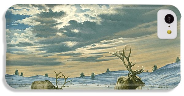 Bull iPhone 5c Case - Winter Sky-elk   by Paul Krapf