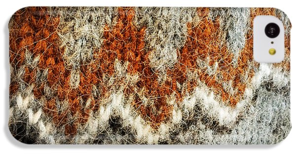 Detail iPhone 5c Case - Woolen Jersey Detail Grey And Orange by Matthias Hauser
