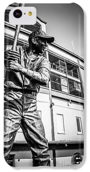 Wrigley Field Ernie Banks Statue In Black And White IPhone 5c Case by Paul Velgos