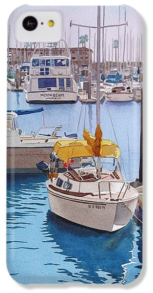 Boat iPhone 5c Case - Yellow Sailboat Oceanside by Mary Helmreich