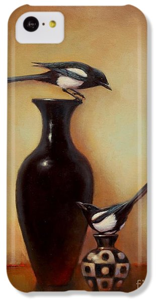 Magpies iPhone 5c Case - Yin Yang - Magpies  by Lori  McNee