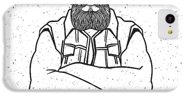 T Shirts iPhone 5c Case - Young Man Bearded Biker. Hand Drawing by Shik shik
