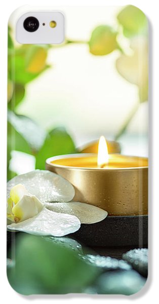 Orchid iPhone 5c Case - Zen Orchid And Candle by #name?
