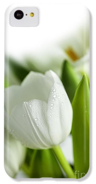 Tulip iPhone 5c Case - White Tulips by Nailia Schwarz