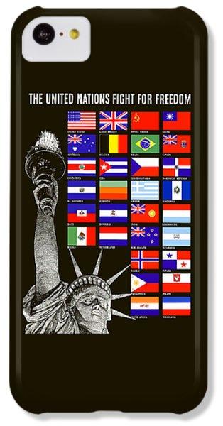 Statue Of Liberty iPhone 5c Case - Allied Nations Fight For Freedom by War Is Hell Store