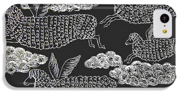 IPhone 5c Case featuring the drawing And Sheep Can Fly by Nareeta Martin