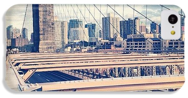 Blue iPhone 5c Case - Another Day On Brooklyn Bridge by Randy Lemoine