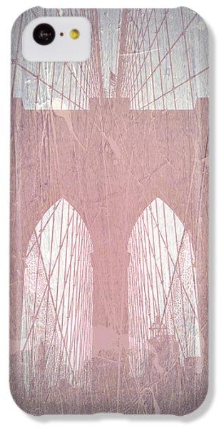 Brooklyn Bridge iPhone 5c Case - Brooklyn Bridge Red by Naxart Studio
