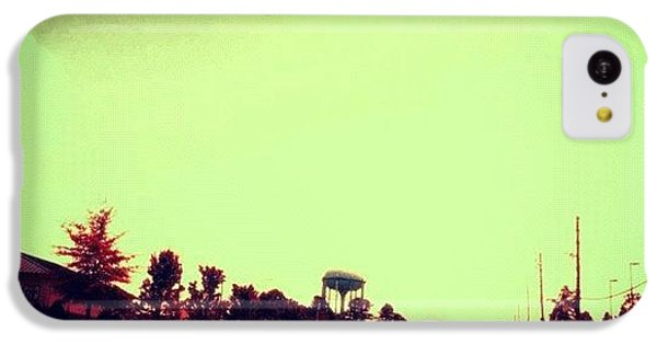 Edit iPhone 5c Case - #cary #driving #sky #red #watertower by Katie Williams