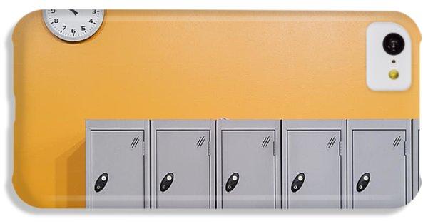 Orange iPhone 5c Case - Clock On An Orange Wall Above Lockers by Iain  Sarjeant