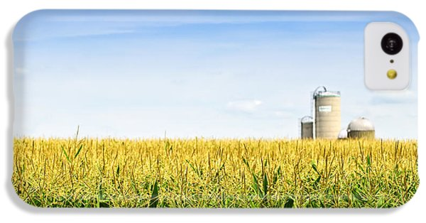 Vegetables iPhone 5c Case - Corn Field With Silos by Elena Elisseeva