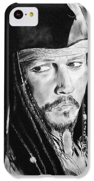 Johnny Depp As Captain Jack Sparrow In Pirates Of The Caribbean II IPhone 5c Case by Jim Fitzpatrick