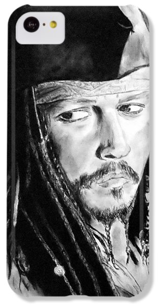 Johnny Depp As Captain Jack Sparrow In Pirates Of The Caribbean IPhone 5c Case by Jim Fitzpatrick