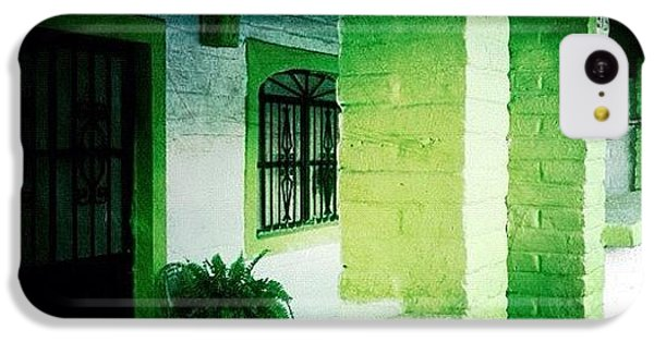 Colorful iPhone 5c Case - Lime Green & White House (puerto by Natasha Marco