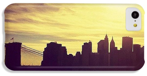 City iPhone 5c Case - Sunset Over The New York City Skyline And The Brooklyn Bridge by Vivienne Gucwa