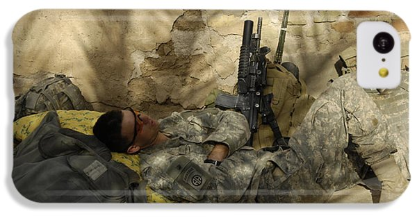 Minotaur iPhone 5c Case - U.s. Army Specialist Takes A Nap by Stocktrek Images
