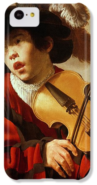 Boy Playing Stringed Instrument And Singing IPhone 5c Case by Hendrick Ter Brugghen