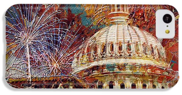 Capitol Building iPhone 5c Case - 070 United States Capitol Building - Us Independence Day Celebration Fireworks by Maryam Mughal
