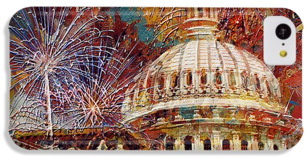 070 United States Capitol Building - Us Independence Day Celebration Fireworks IPhone 5c Case by Maryam Mughal