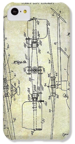 Helicopter iPhone 5c Case - 1935 Helicopter Patent  by Jon Neidert