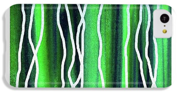 iPhone 5c Case - Abstract Lines On Green by Irina Sztukowski