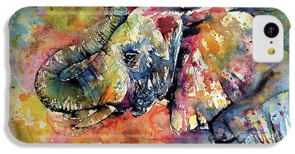 Animal iPhone 5c Case - Big Colorful Elephant by Kovacs Anna Brigitta