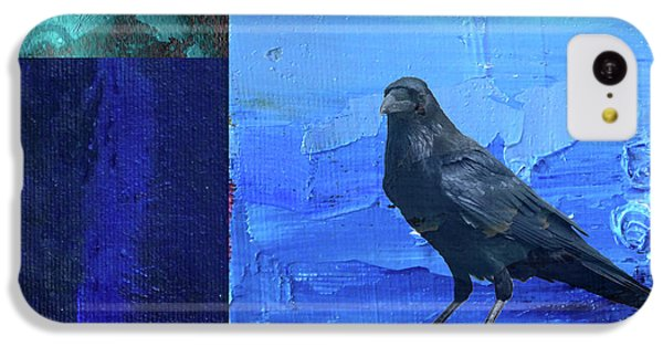 IPhone 5c Case featuring the digital art Blue Raven by Nancy Merkle