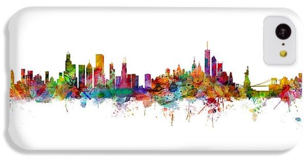 Chicago Skyline iPhone 5c Case - Chicago And New York City Skylines Mashup by Michael Tompsett