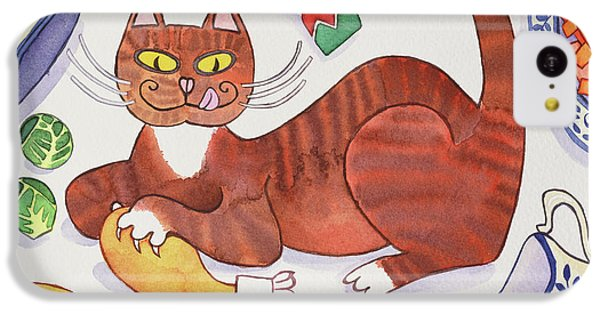 Christmas Cat And The Turkey IPhone 5c Case by Cathy Baxter