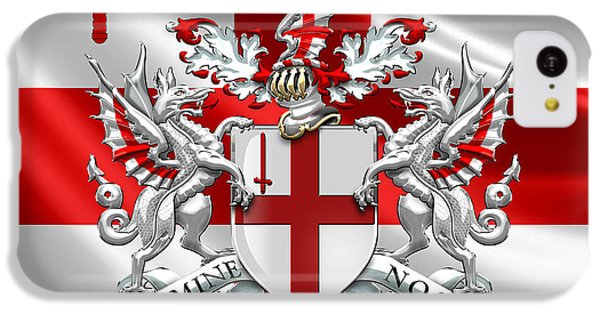 City Of London - Coat Of Arms Over Flag  IPhone 5c Case by Serge Averbukh