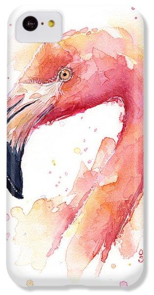Flamingo iPhone 5c Case - Flamingo Watercolor by Olga Shvartsur