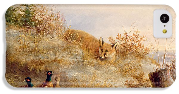 Pheasant iPhone 5c Case - Fox And Pheasants In Winter by Anonymous