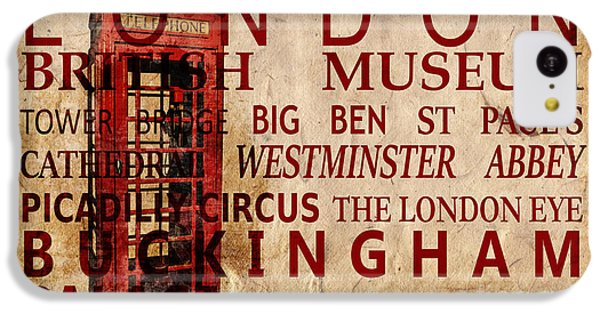 London Eye iPhone 5c Case - London Vintage Poster Red by Delphimages Photo Creations