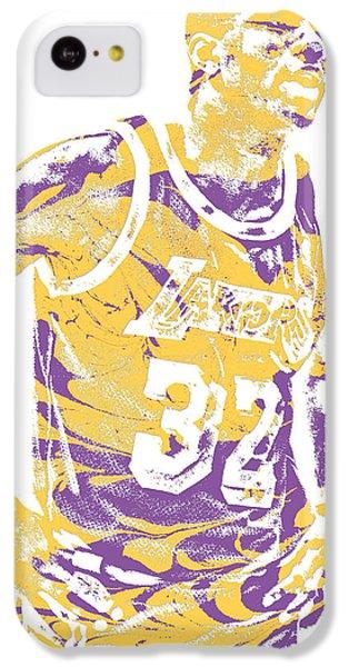 Magic Johnson iPhone 5c Case - Magic Johnson Los Angeles Lakers Pixel Art 6 by Joe Hamilton