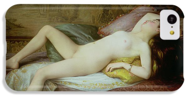 Nudes iPhone 5c Case - Nude Lying On A Chaise Longue by Gustave-Henri-Eugene Delhumeau