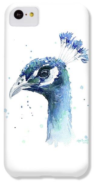Peacock iPhone 5c Case - Peacock Watercolor by Olga Shvartsur