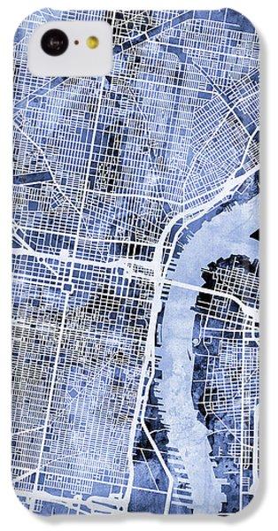 Philadelphia iPhone 5c Case - Philadelphia Pennsylvania City Street Map by Michael Tompsett