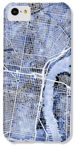 Philadelphia Pennsylvania City Street Map IPhone 5c Case by Michael Tompsett