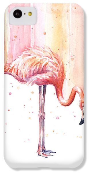 Flamingo iPhone 5c Case - Pink Flamingo - Facing Right by Olga Shvartsur